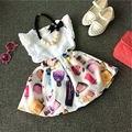 Lindo Niños Niñas Ropa Para Bebés Vestidos 2 unids Pieza de Moda Nueva Camiseta Sin Mangas Tops de Encaje Floral Vestido de Traje Traje de 1 2 3 4 5 Años
