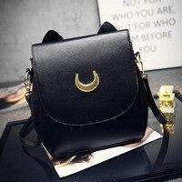 2016 Cute Large Sailor Moon Samantha Vega Luna Backpack Black White Cat Luna Moon Women Bag