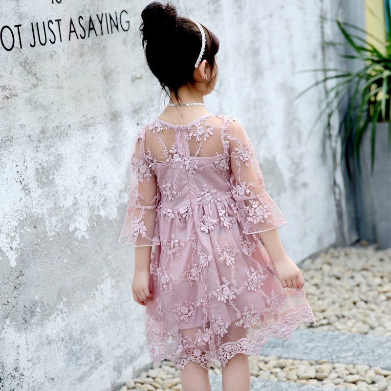 283076912ec5 Fancy Kids Princess Casual Dresses Summer White Pink Sundress Beach Wear  O-Neck Outfits Prom Clothes 2-7Years Girls Lace Dress