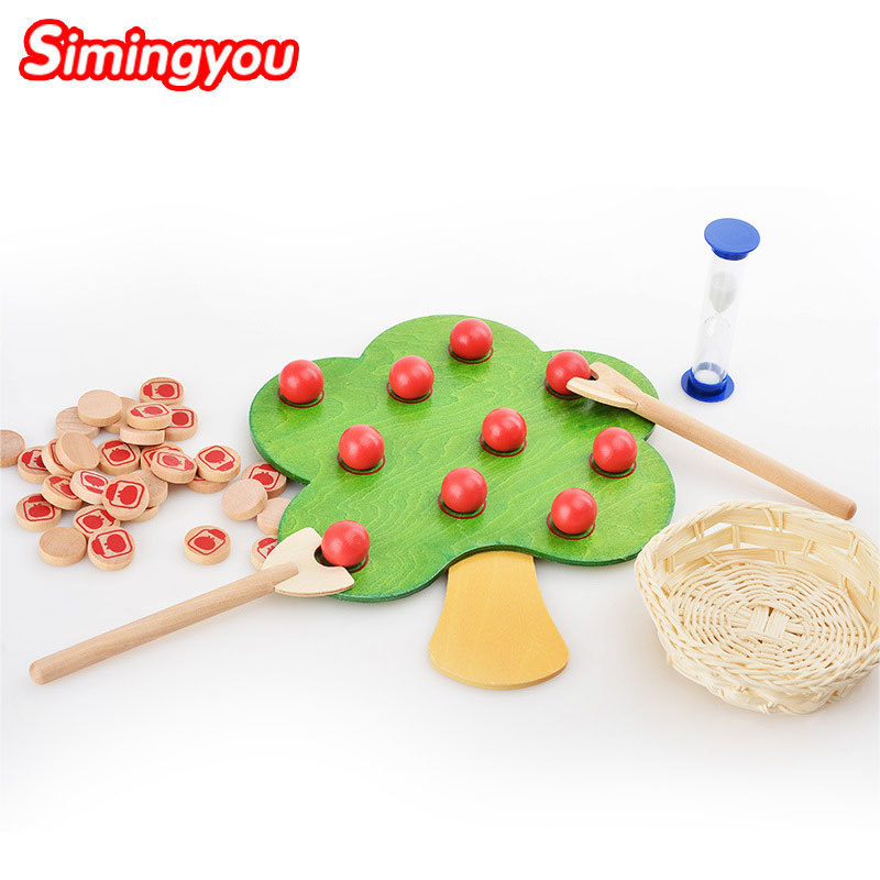 цена Simingyou Wooden Montessori Toys Red Fruit Picking Apple Game Exercise Patience Balance Children Toys B40-A-157 Drop Shipping