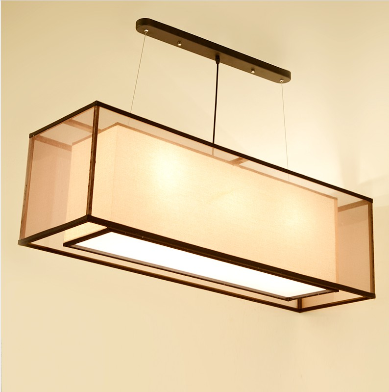 Chinese style Iron double rectangular transparent sheepskin Pendant Lights custom Double Square Restauran pendant lamps ZS157