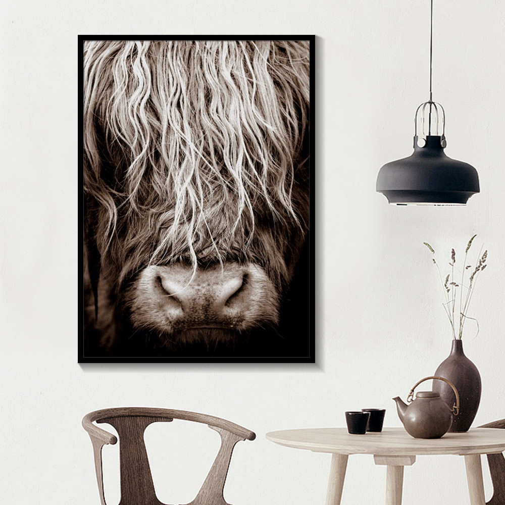 Black And White Highland Cow Wall Art  Abstract Canvas Painting Minimalism Shaggy Yak Cow Prints Animal Printable Bull Poster