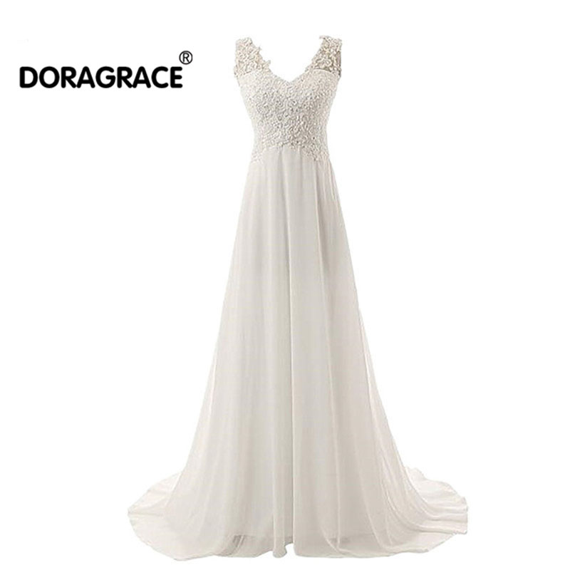 Doragrace vestidos de noiva Simple Elegant A Line Chiffon Plus Size Bridal Gowns Beach Wedding Dresses
