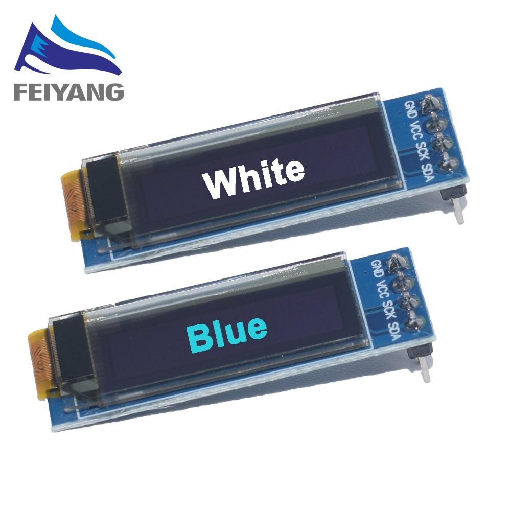 2pcs 0.91 Inch Blue 128X32 OLED LCD LED Display Module