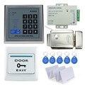 Kit RFID Porta Sistema de Controle de Acesso Set com controle elétrico teclado + alimentação + botão exit porta fechadura digital + chave rfid cartões