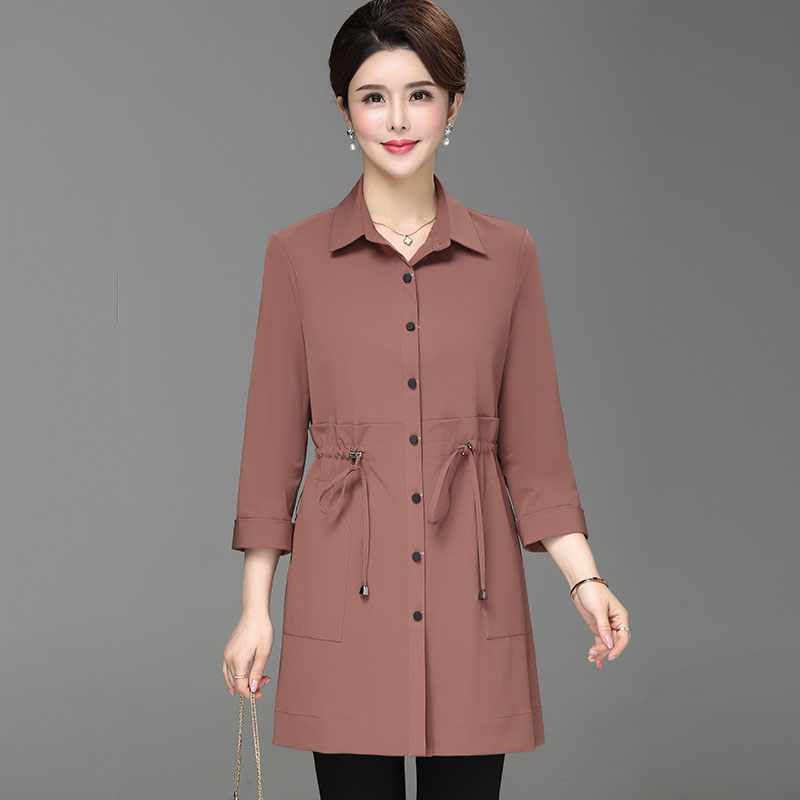 New 2019 summer thin trench coat women adjustable sashes slim medium long 3/4 sleeve plus size outerwear without lining