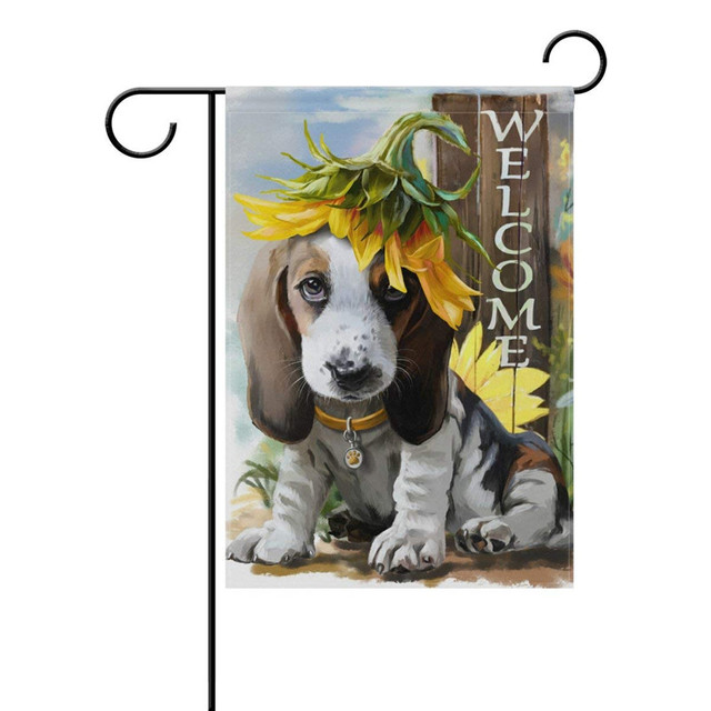 Summer Garden Yard Flag Sunny Beagle Dog With Sunflower Sweet Flower  Welcome House Flags Screen Printing