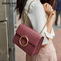 EMINI HOUSE Split Leather Crossbody Bags For Women 2018 Ring Decorate Chain Strap Square Shoulder Bag Female Cross body Bags Shoulder Bags