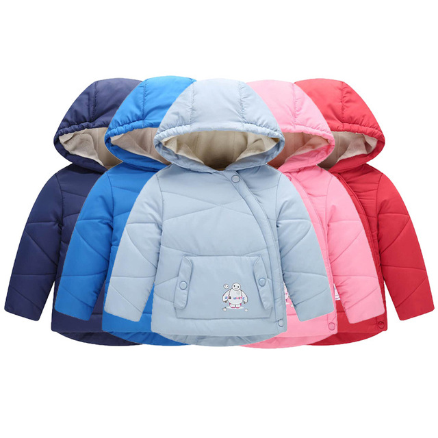 Flash Sale Small baby children's cotton coat Autumn and winter boys girls childrenswear Kid thickening plus velvet hooded lovely jacket