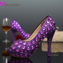 Purple Women High heels Pumps Peep Toe Sexy Crystal Rhinestone Shoes Platform Wedding Dress Shoes Purple Color Party Shoes