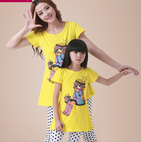 Matching Mother Daughter Clothes Family Fitted Summer Cotton T Shirt Polka Dot Pants 2pcs Sets Fashion