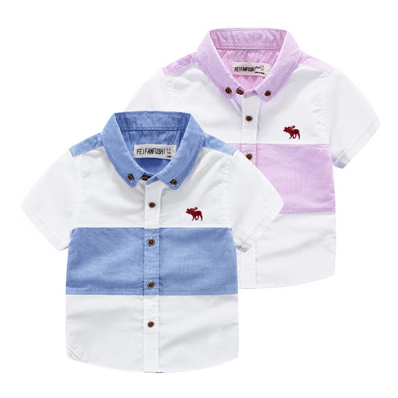 ФОТО 2016 new spring autumn Girls Kids Boys Short-sleeved cotton shirt  comfortable cute baby Clothes Children Clothing 90-150