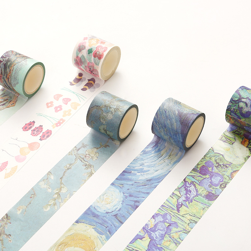 Dynamic 4cm*7m Fireworks Field Van Gogh Oil Painting Washi Tape Diy Scrapbooking Masking Tape School Office Supply Escolar Papelaria For Fast Shipping