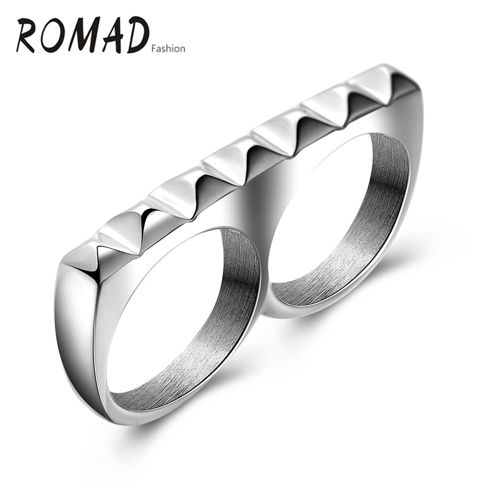 Fashion Gear Type Double Rings Bague Mens Women Hight Quality New Style Jewelry Anniversary Holiday Gifts