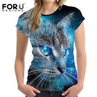 FORUDESIGNS 3D Galaxy Cat Prints Women Summer T Shirt Elastic Woman Tops Fashion T Shirt For