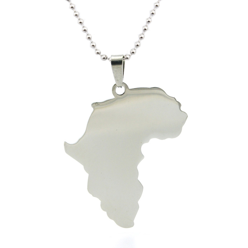 50pcs new Fashion burnish polished Africa map Pendant stainless steel Metal Necklace for men women wholesale