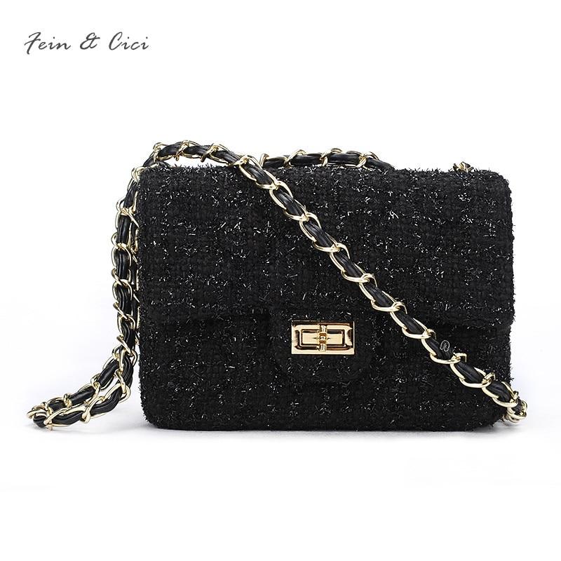 tweed chains bag small messenger flap bag women knitting party handbag luxury brand fashion lady black bag crossbody bags цена 2017