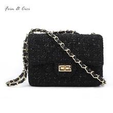 tweed chains bag small messenger flap bag women knitting party handbag luxury brand fashion lady black bag crossbody bags