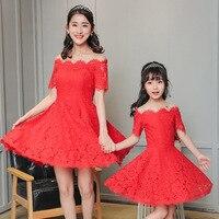 Mother And Daughter Dress 2017 Summer Floral Lace Bateau Wedding Dress Red Short Sleeve Princess Dress