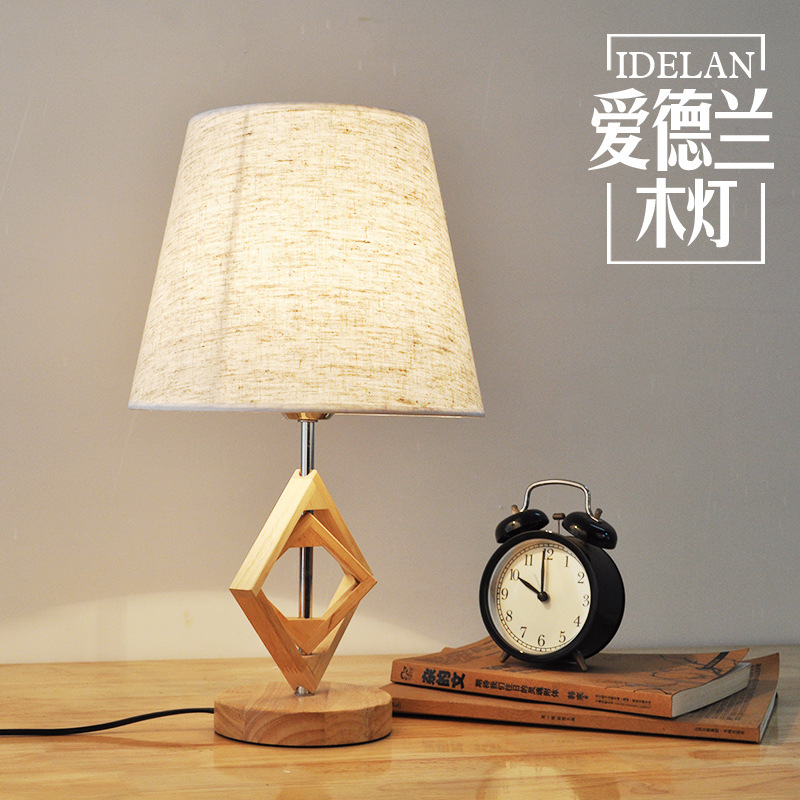 TUDA bedroom bedside table lamp modern Chinese solid wood retro table lamps creative study hotel oak desk lamp tuda glass shell table lamps creative fashion simple desk lamp hotel room living room study bedroom bedside lamp indoor lighting