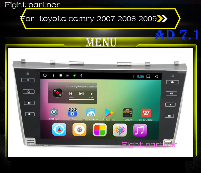 Factory price Android 7.1 car radio for toyota camry 2007 2008 2009 with steering wheel
