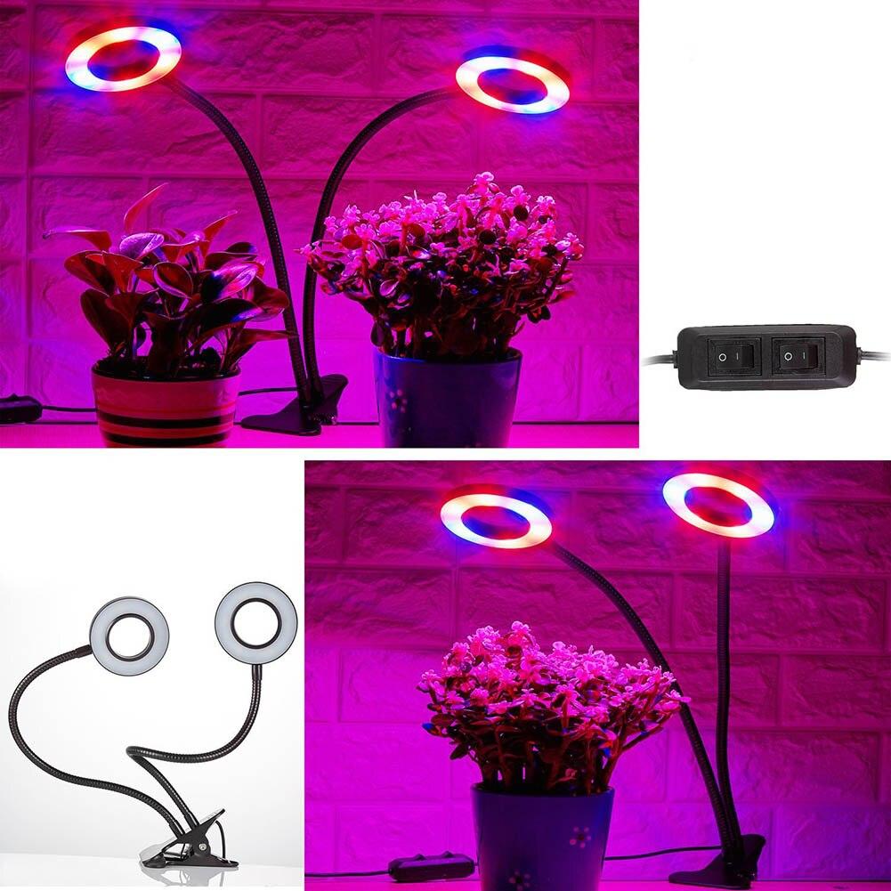 Двойные Главы LED растения растут свет гибкая стол клип лампы Овощи Фрукты Цветы Spotlight для гидропоники сад office clh