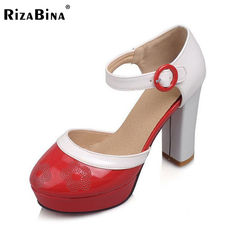 RizaBina Size 33-43 Office Lady Platform High Heel Sandals Women Ankle Strap Round Toe Shoes Thick Heel Sandals Summer Footwears meotina shoes women sandals summer sexy stiletto high heel sandals open toe ankle strap party pumps lady shoes purple size 34 43