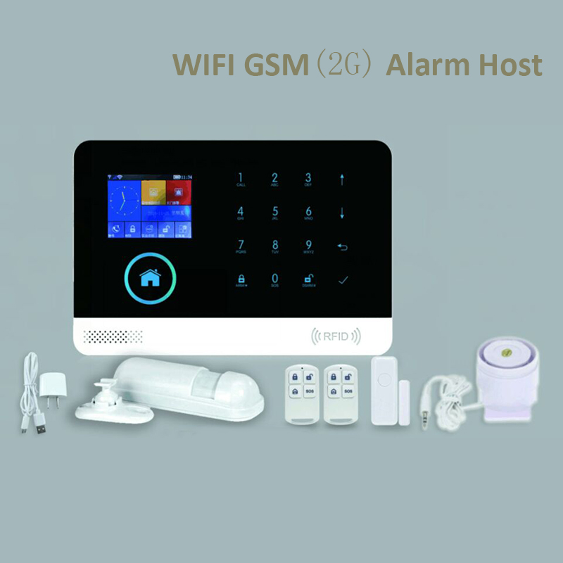 WIFI GSM Alarm Host LCD Display Touch Keypad 433MHz Support 2G SIM Card Arm Disarm Home Security Alarm System Phone APP Control купить в Москве 2019