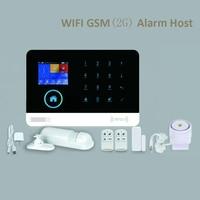 Wifi gsm警報ホスト液晶ディスプレイタッチキーパッド433 mhzのサポート2グラムsimカードアーム武装解除ホームセキュリティ警報システム電話app制御