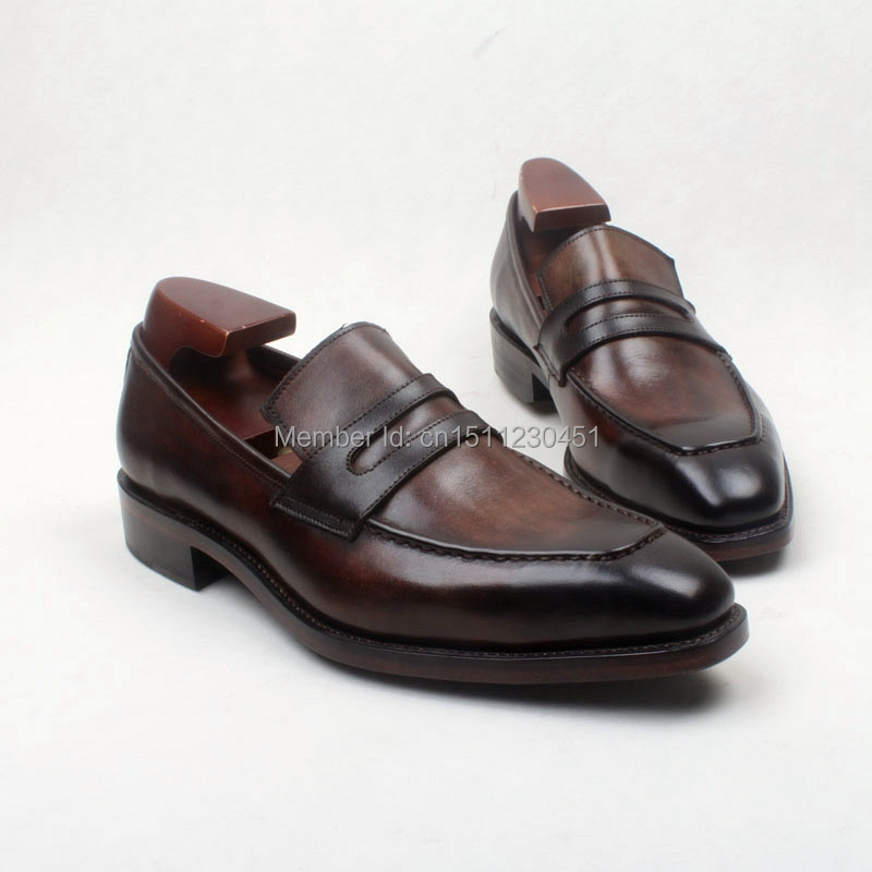 obbilly Handmade Genuine Calf Leather Dress Upper/outsole/Insole Brown Color Goodyear welted Craft Square toe Shoe No.Loafer131 obbilly handmade genuine leather upper outsole insole navy color goodyear craft square toe men s classic shoe no ox633