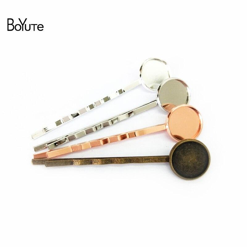 BoYuTe 50Pcs Round 10MM 12MM 14MM Cabochon Base Hair Clip Blank Tray DIY Hair Jewelry Findings