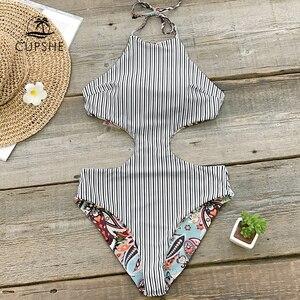 Image 2 - CUPSHE paraíso Tropical Reversible Halter de una pieza traje de baño mujeres recorte Monokini trajes de baño 2020 chica Sexy traje de baño