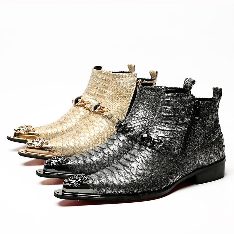 Bota militar genuine leather boots gold gray dress men shoes metal decoration zipper short chelsea boots flats military boots