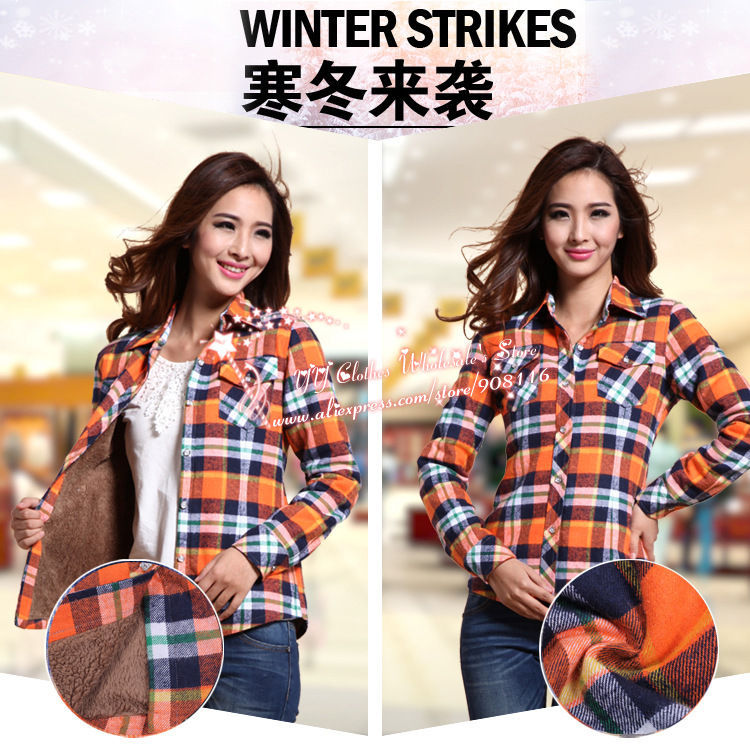 5cf45b3a215bcf 2013 New Excellent,women Korean Style Long Sleeved Autum/winter Warm  Plaid/checked Blouse,top Shirts,ladies Large Size Blouses on Aliexpress.com  | Alibaba ...