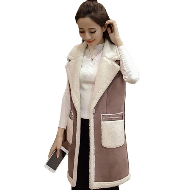Mulheres Colete de inverno 2016 das Mulheres Colete Sem Mangas Casaco Longo Patchwork Faux Camurça Coletes À Prova de Casaco Feminino