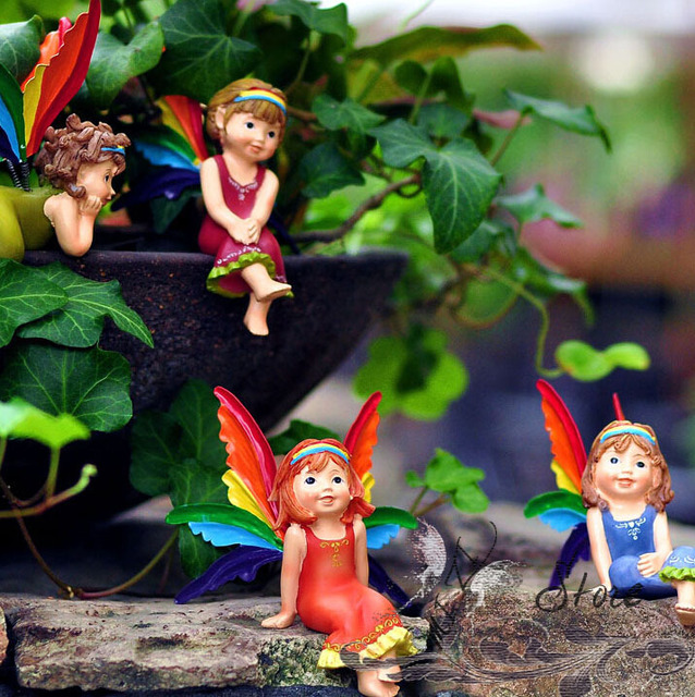 Kostenloser Versand Home Decor Kinderzimmer Dekoration Ornament Kleine  Nette Puppe Harz Handwerk Liegen Blume Fee/