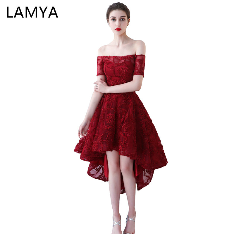 LAMYA Boat Neck With Short Sleeve   Prom     Dresses   Vintage Front Back Long Tail Banquet Evening   Dress   2018 High Low Back vestido de