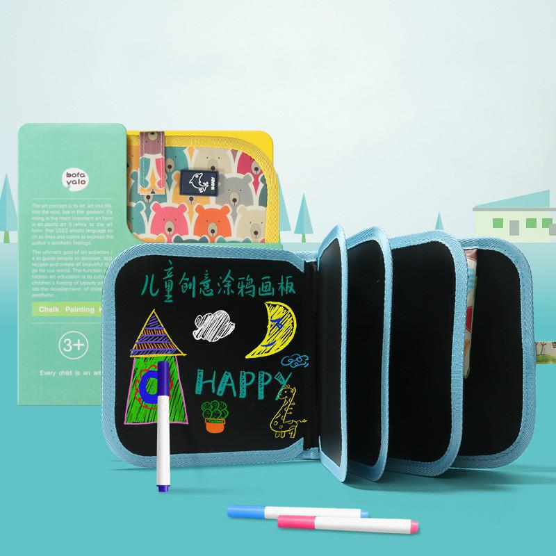 Children's Sketchpad Graffiti Writing Blackboard Portable Double-sided Blackboard Erasable Chalk Painting Book