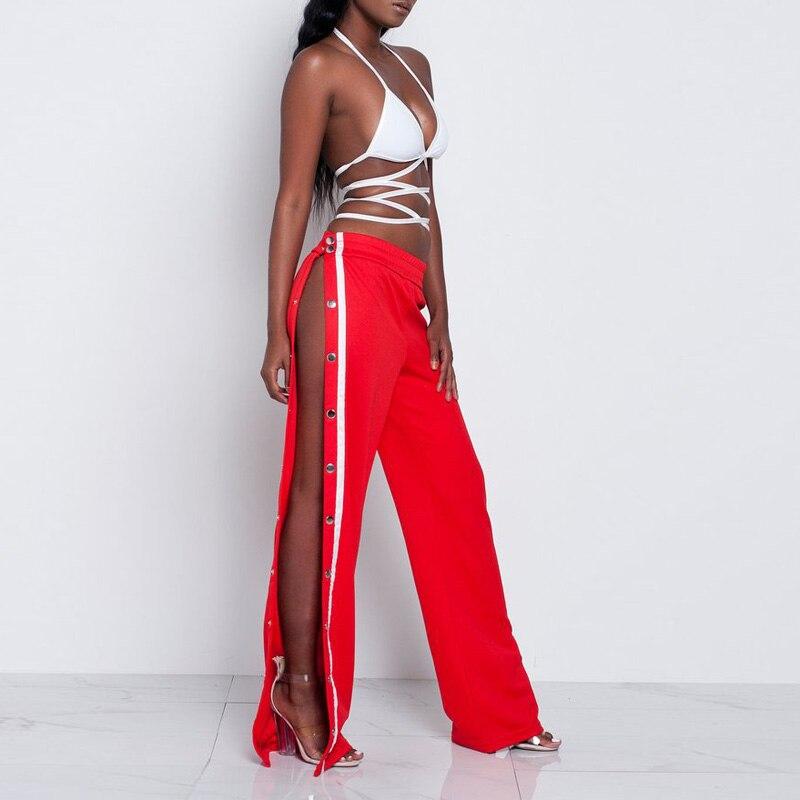 Women Side Button Pants High Split Wide Leg Trousers 2018 Casual Pink Palazzo Summer Cool Street Pantalones