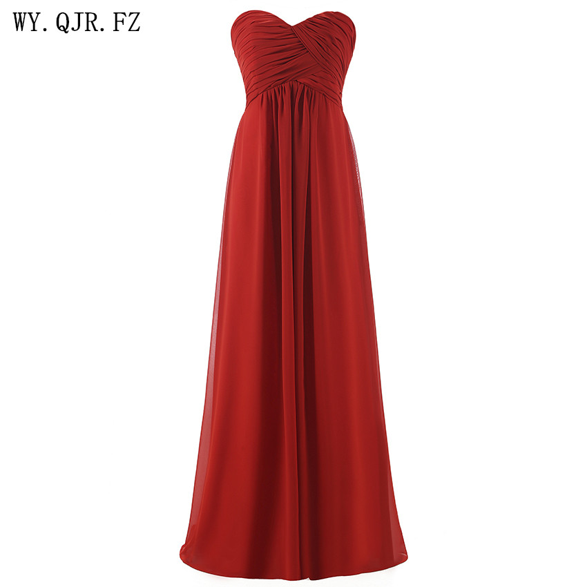 QNZL#Ball Gown Strapless plus size pink Burgundy Long bridesmaids dresses wedding party prom gown dress 2019 wholesale custom