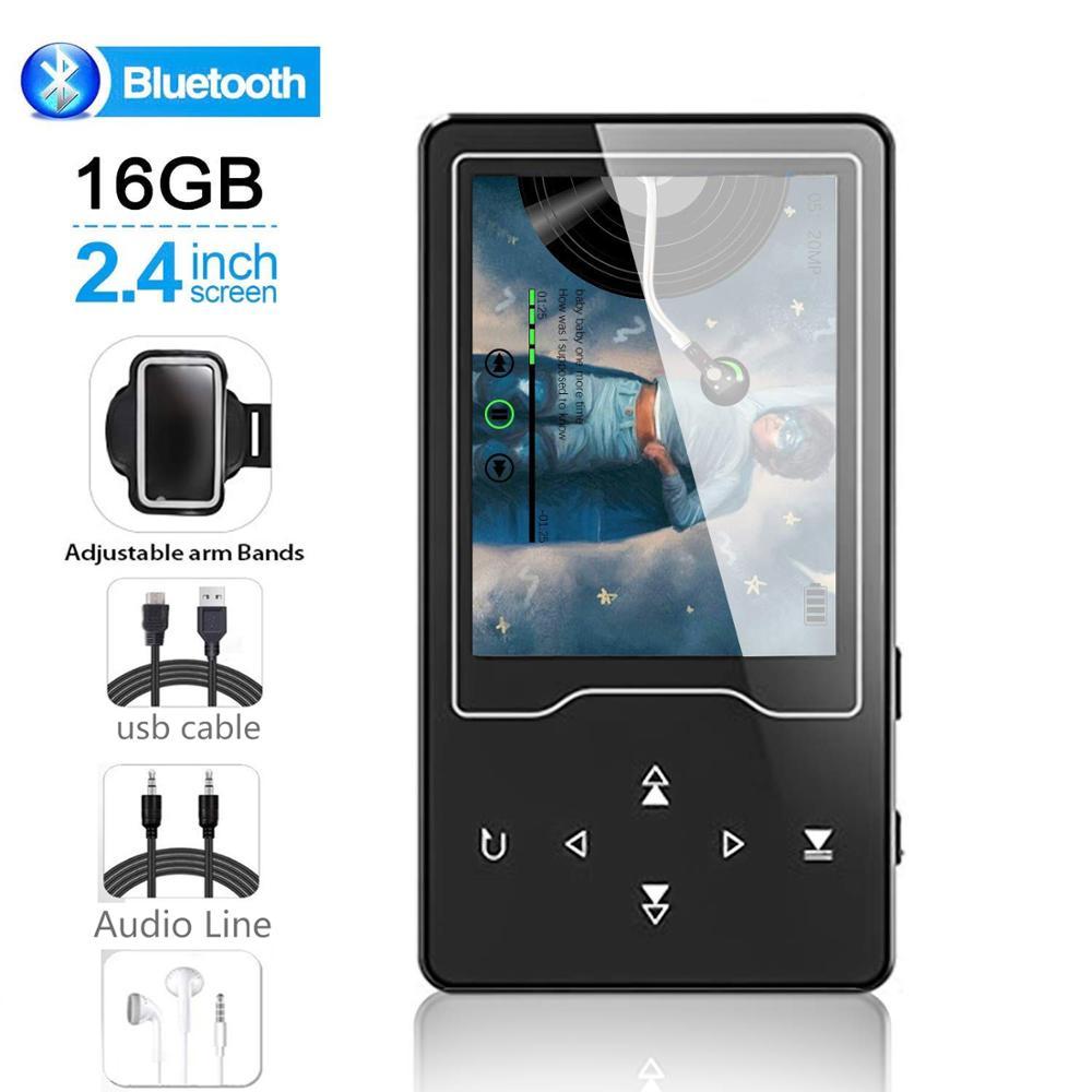 MP4 Joueur Bluetooth4.2 16 GO MP3 Lecteur de Musique avec 2.4 pouces Grand Écran MP4 Lecteur Vidéo Prend En Charge la Carte SD jusqu'à 128 GO avec FM