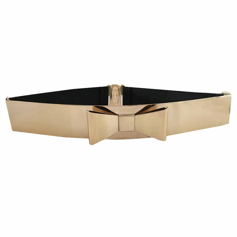 aab81e2d2 Seabigtoo Bow Gold Plate metal elastic belts for women ladies belts female  nude belts waist chain