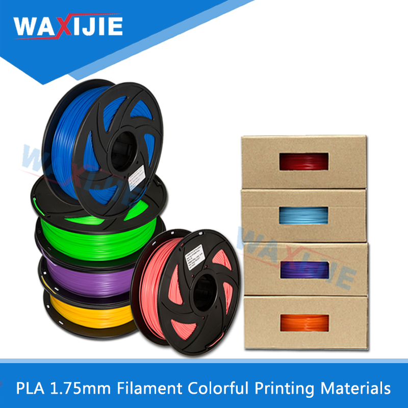 WAXIJIE PLA 1.75mm Filament 1KG Colorful Plastic Printing Material For 3D Printer Extruder Pen Extrusion Rainbow Parts 40 Colors pla 1 75mm filament 1kg printing materials colorful for 3d printer extruder pen rainbow plastic accessories black white red gray