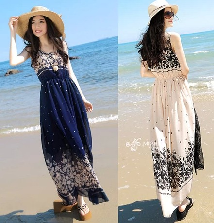 4053819a29 2014 spring one-piece dress bohemia long beach design chiffon floral print  dress tube top halter-neck spaghetti strap full dress
