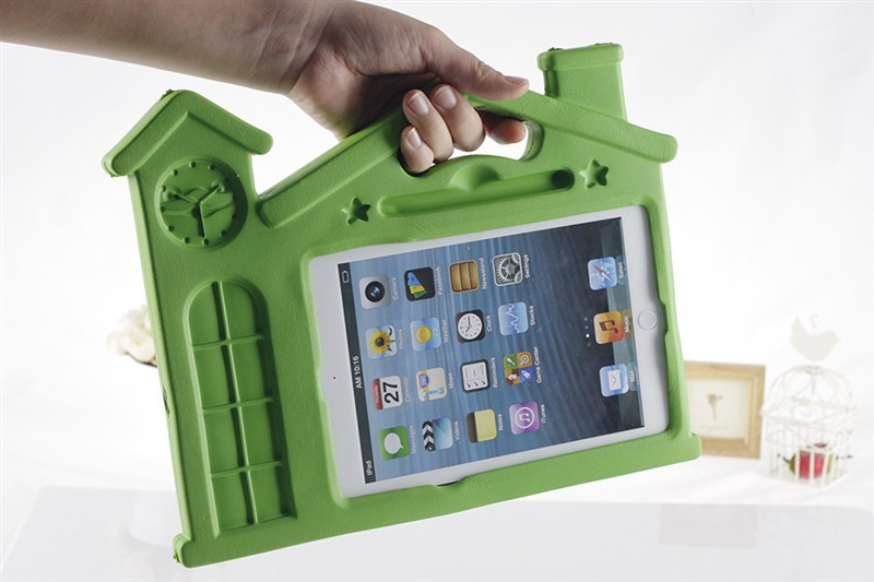 Fashion Cute 3D Kid House Soft Rubber Cover For ipad 2 / 3 / 4 Cartoon Stand Cover Case + gift screen protector Free Shipping