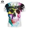 JIAYIQI Crânios de Impressão Novas Mulheres Da Moda T-shirt Hip Hop 3D Animação Verão Fresco Tees Tops
