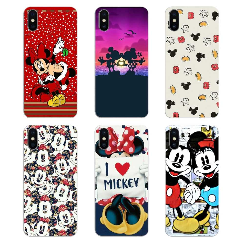 Soft TPU Cover การ์ตูน Mickey Minnie Mouse สำหรับ iPhone XS Max XR X 4 4 S 5 S 5C SE 6 6 S 7 8 Plus Samsung Galaxy J1 J3 J5 J7 A3 A5