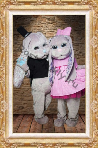 Hare Puppet Mascot Costumes grils boys Bunny mascot costumes for Adult Animal black and pink  Christmas Carnival party event