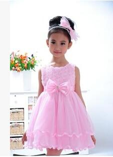 2015 New Brand Baby Dress High-grade Silk Girls Dresses Sleeveless Rose Flower Child Clothing dress #C214