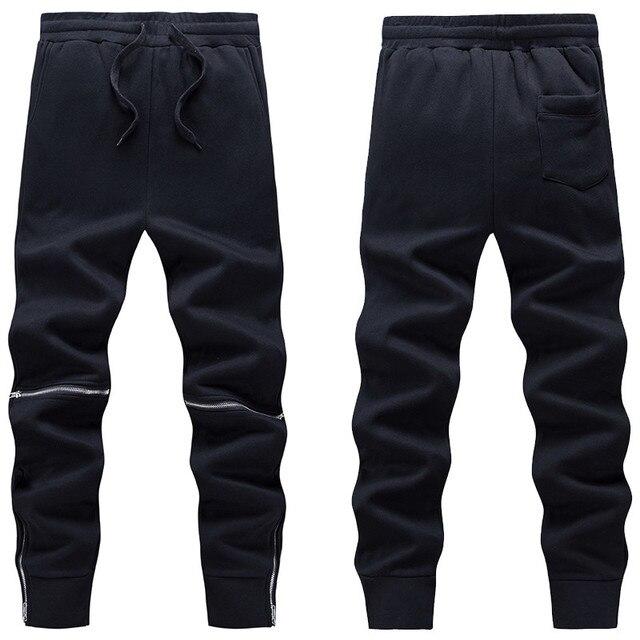 Autumn Winter Thick Fleece Casual Pants Men Solid Black Cotton Warm Outwear Sweatpants Elastic Waist Zippers Design Harem Pants